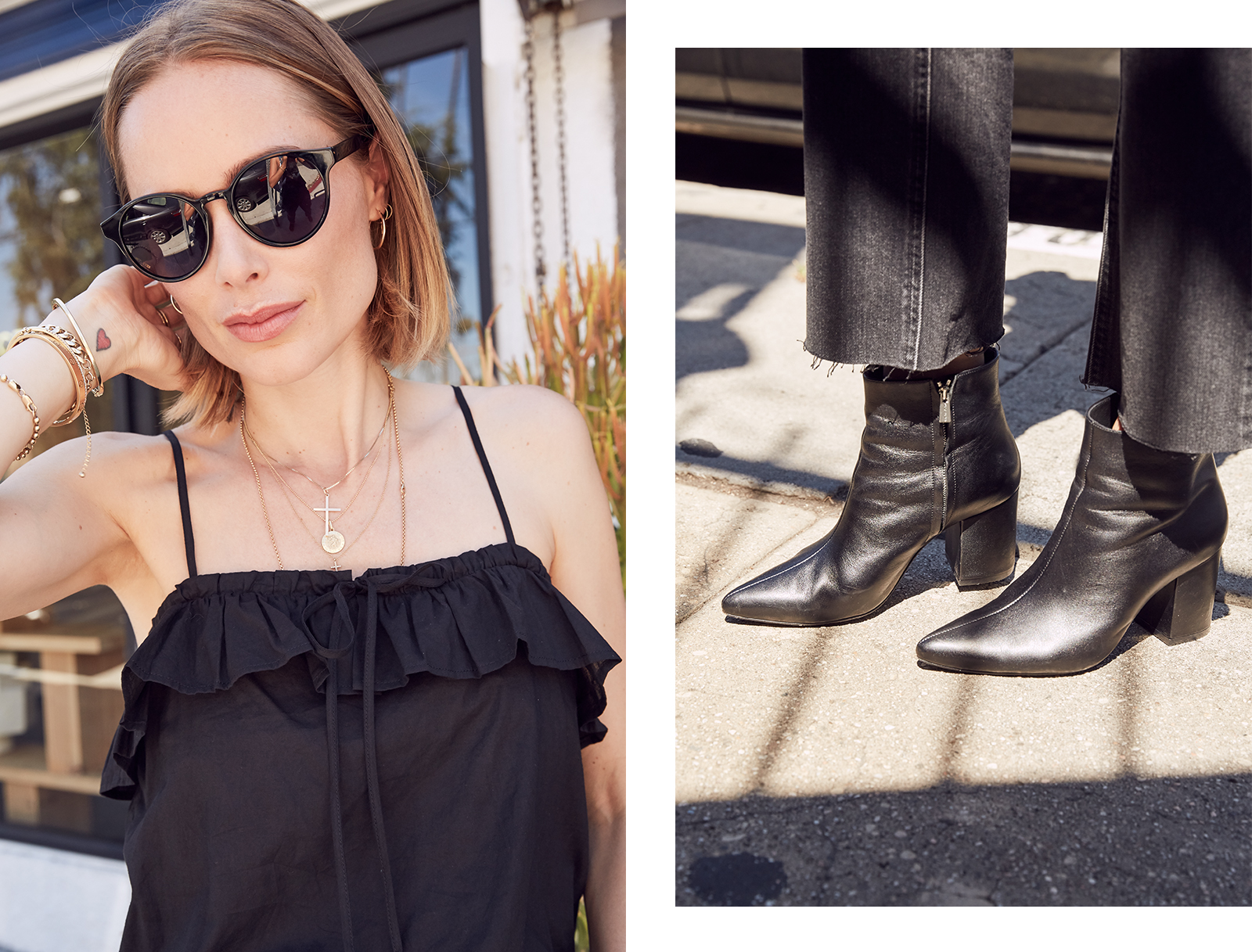 black cotton frill camisole charcoal straight leg jeans natalie boots - Style crush: Anine Bing's arm party