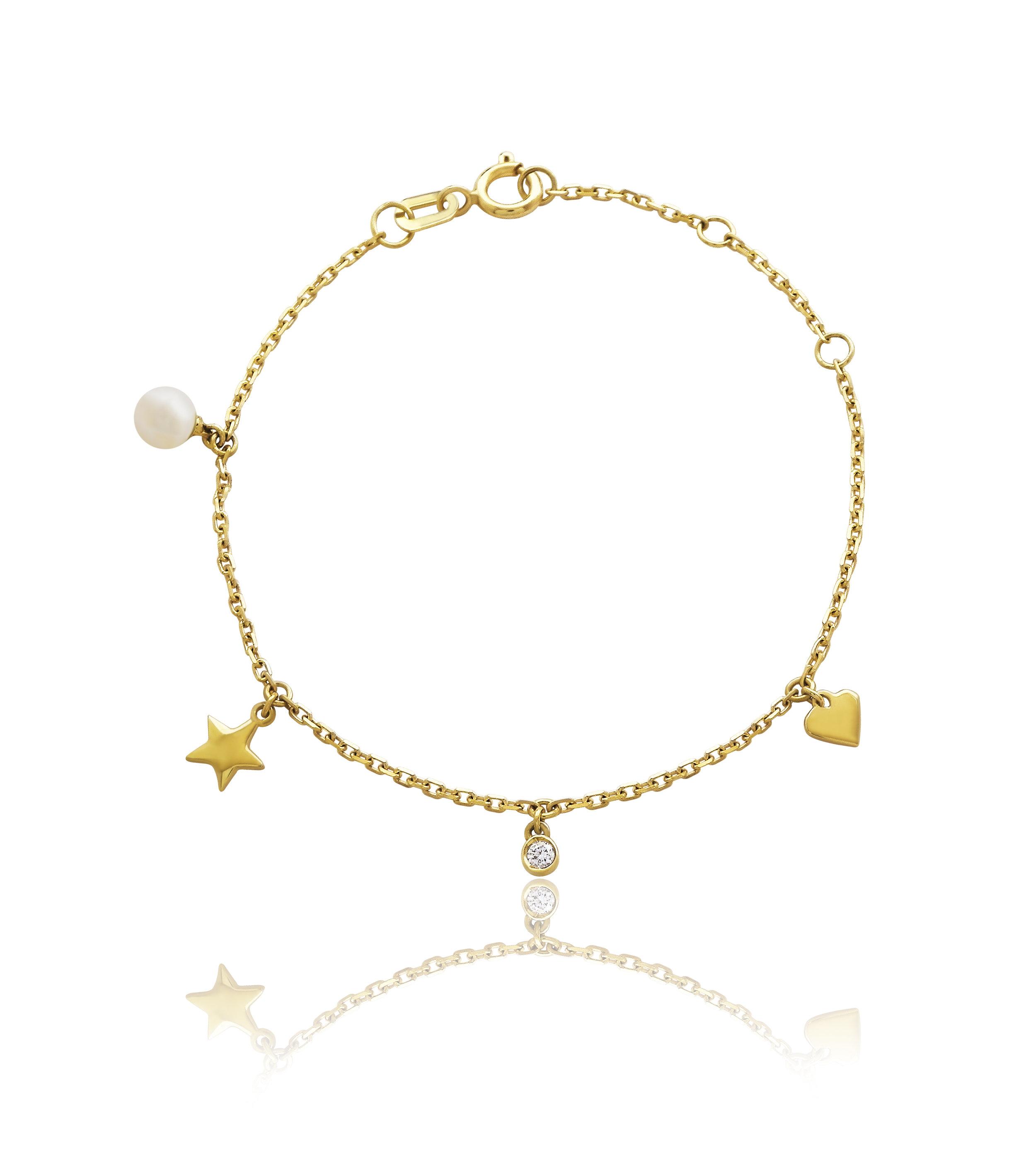 Pulseira+Berloques+em+ouro+amarelo+18k+com+p%C3%A9rola+e+diamante+R%24780%2C00+JULIA+BLINI - Julia Blini, Designer de Jóias