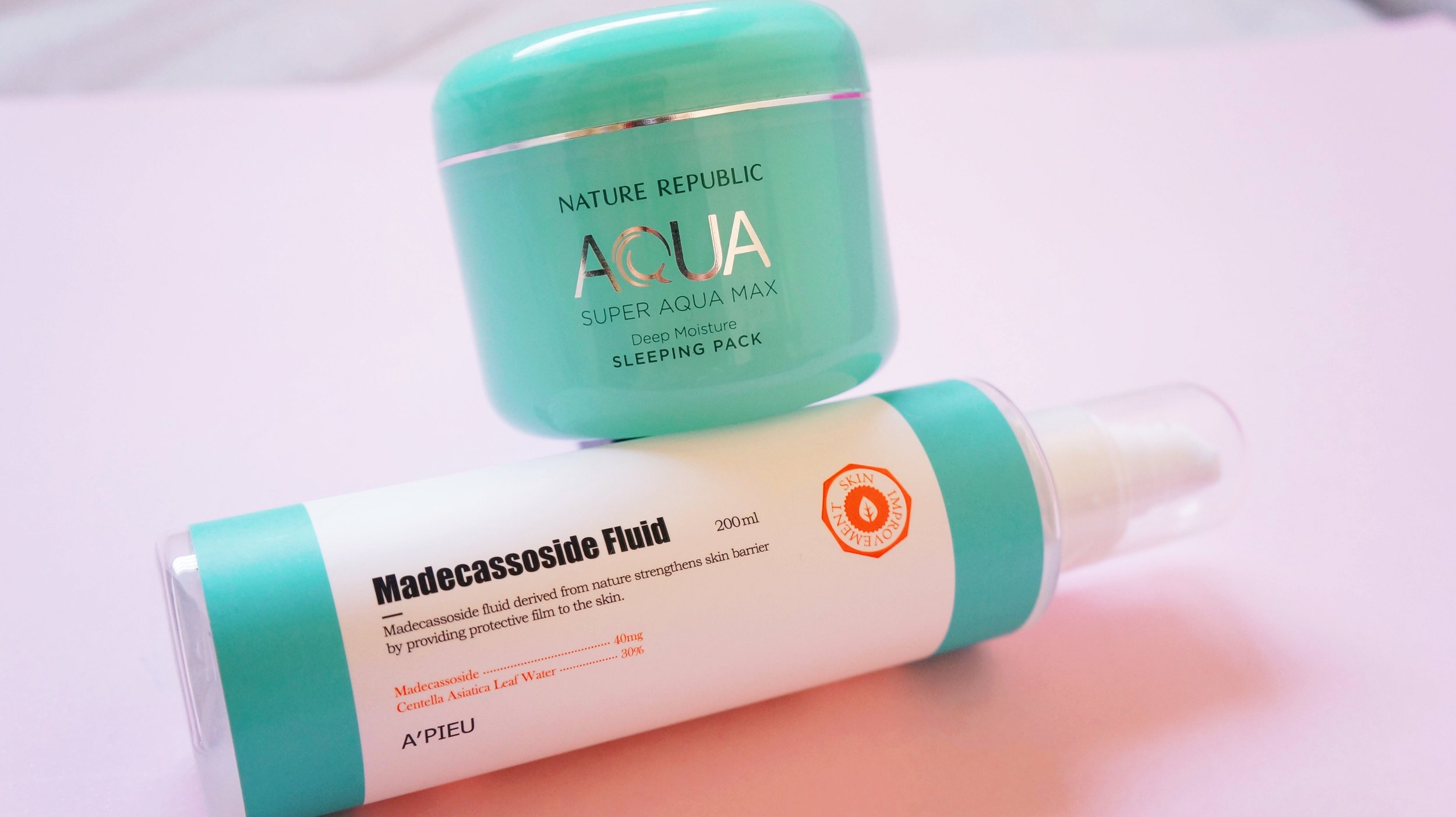 A´pieu: Madecassoside Fluid    ;    Nature Republic: Super Aqua Max Sleeping Pack