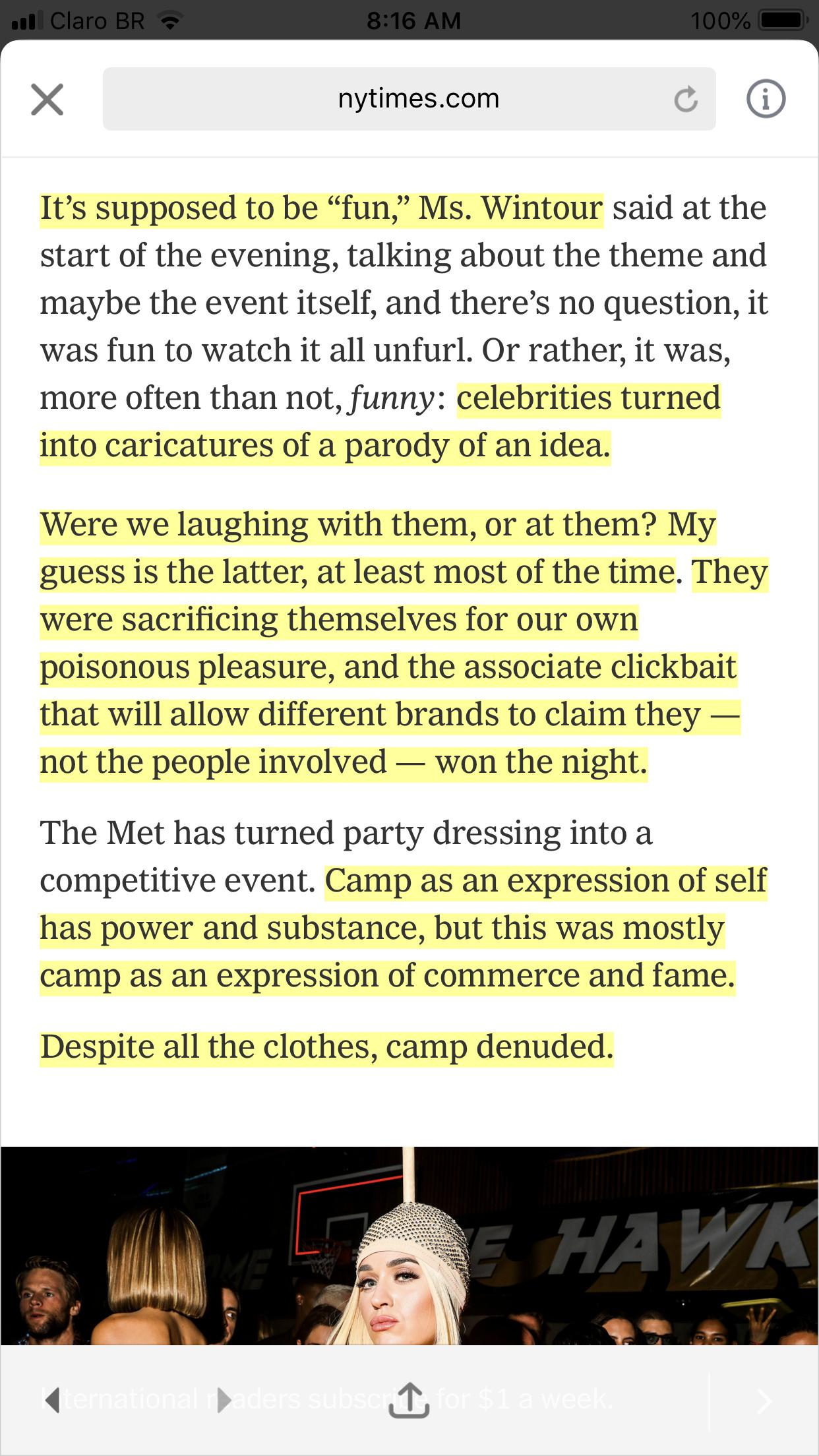 Um trecho do  texto da Vanessa Friedman, para o NY Times sobre o Met Gala.