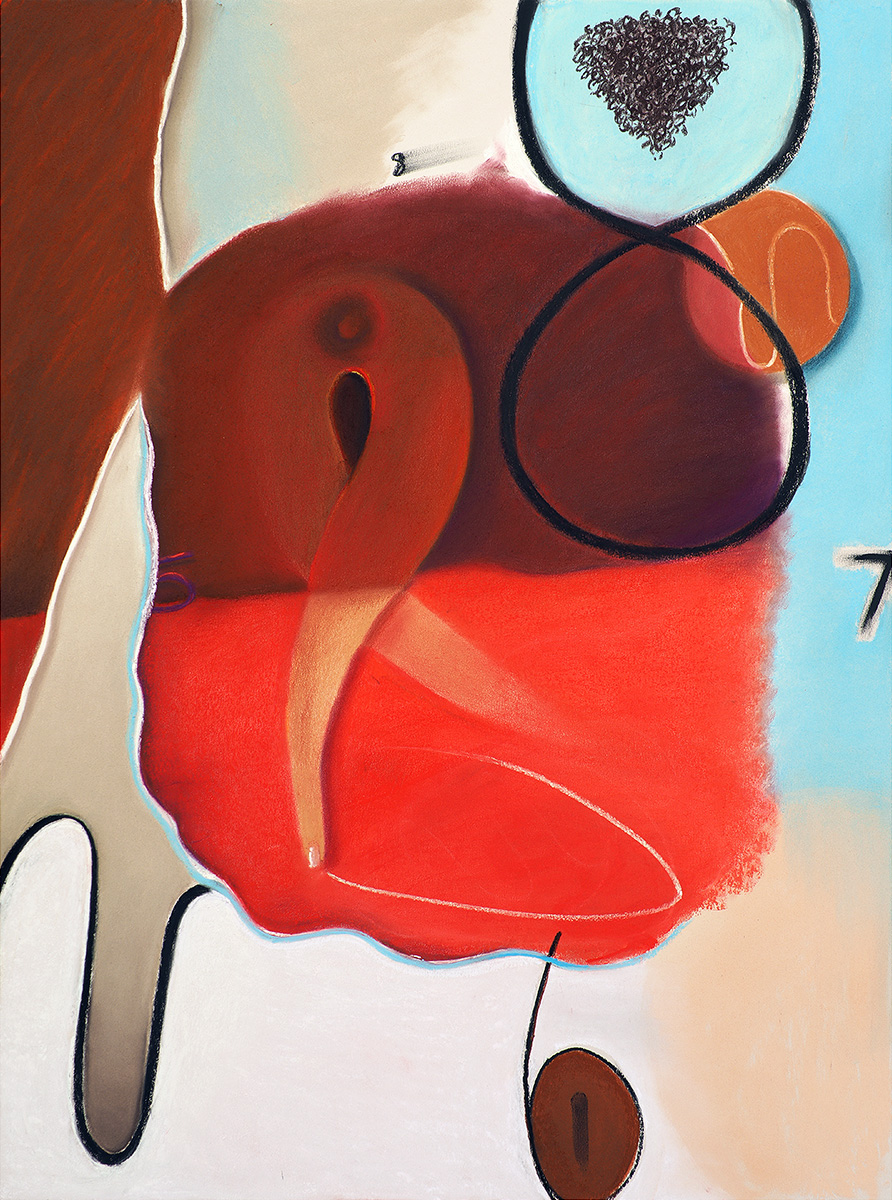 Seeing Red , 2017, soft pastel on paper, 30 x 22 in/76.2 x 55.88 cm