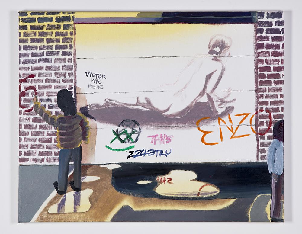Garage Graffiti Teens , 2018, oil on canvas, 16 x 20 in/40.64 × 50.8 cm