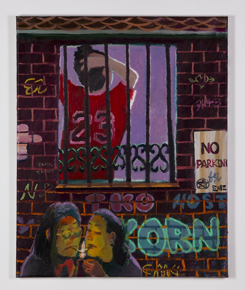 Smoke Break , 2017, oil on canvas,20 × 16 in/50.8 × 40.64 cm