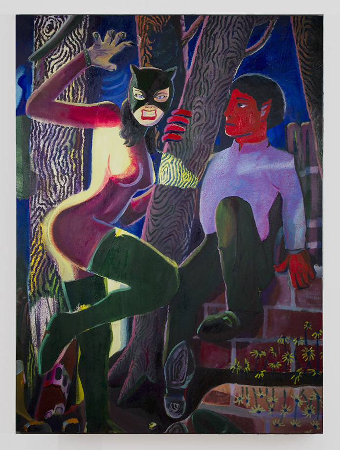 Backyard Larpers , 2018, oil on canvas, 50 x 36 in/127 × 91.44 cm