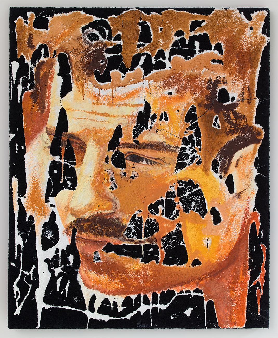 A Gay Face , 2015, oil and gesso on sewn towels, 42 x 34 in/106.68 x 86.36 cm