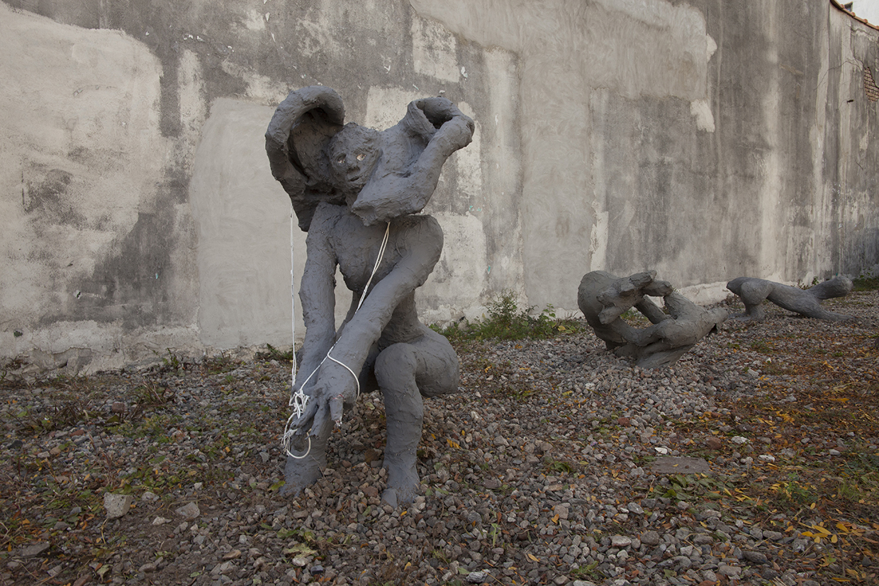 Creatures of the Grotto III of Vesuviues 79 AD , 2017, wood, burlap, wire mesh, plaster, latex acrylic and cement, dimensions variable