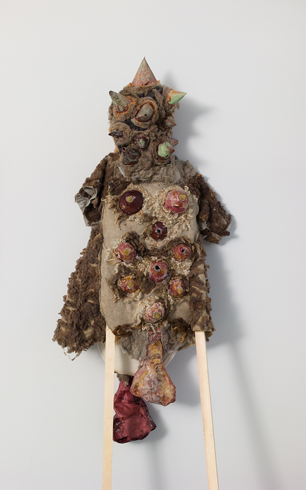 Laura Bernstein - SN Taxidermy I, 2016–2017Papier-mache, latex, raw wool, felt,burlap, batting, wax, wooden legsOverall: 84 × 28 × 7 in/213.36 × 71.12 × 17.78 cm$1,500