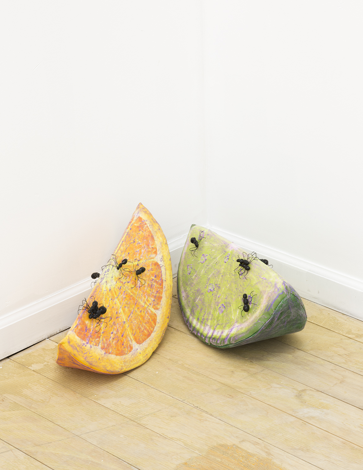 Dirty Slice (Orange) and (Lime) , 2018, mixed media on foam pillows, dimensions variable