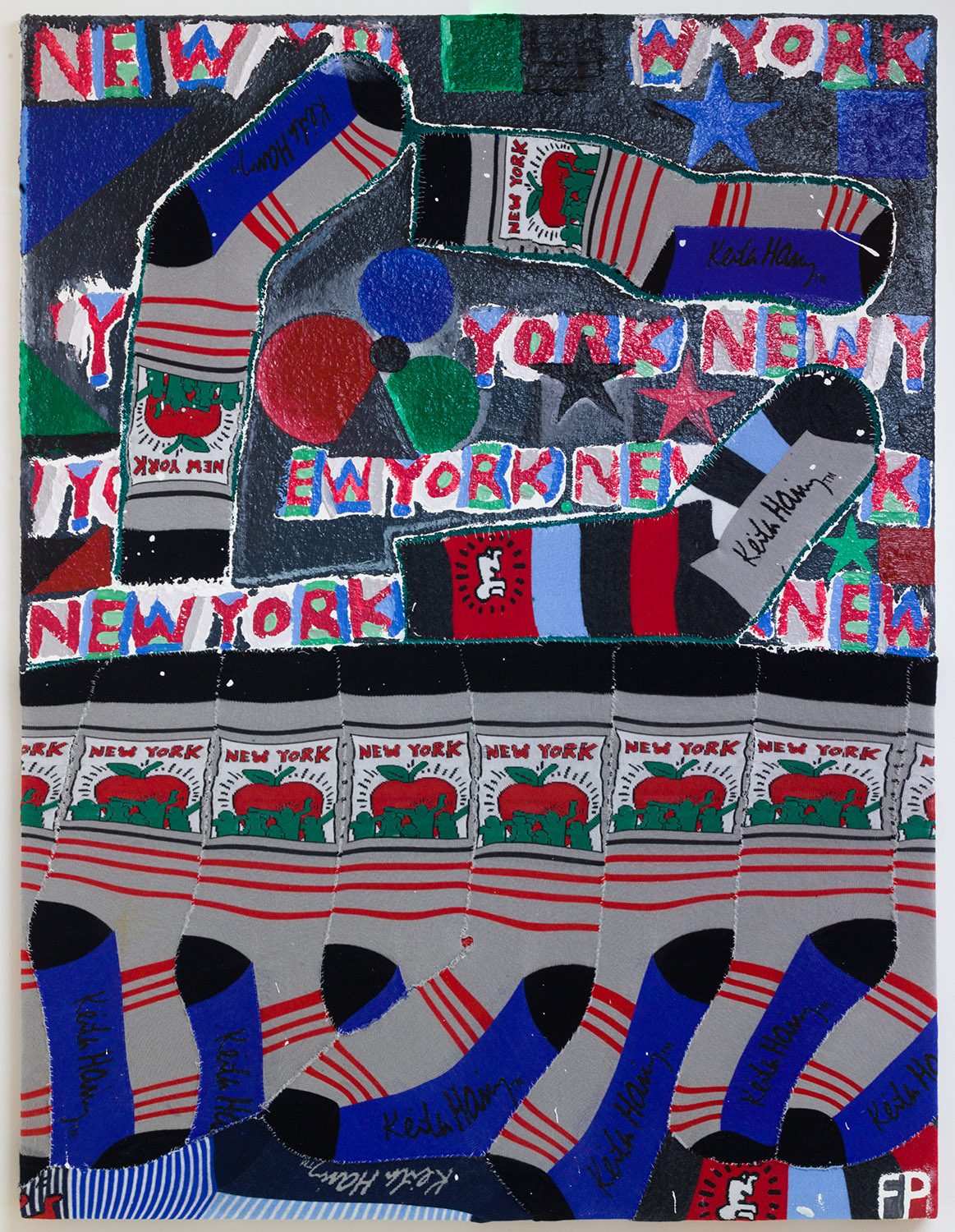 New York City Socks , 2019, oil paint, sand, glitter, and t-shirts on canvas, 42 x 32 in/106.68 x 81.28 cm