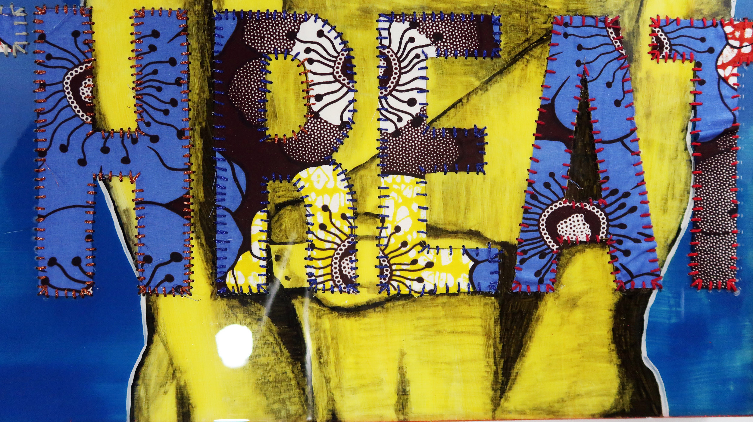 """I AM TAP (TAP Nation, Borg Style) Oil paint, Ghanaian/Chinese HItarget wax fabric hand sewn into wood panel with epoxy resin 30""""X24"""" 2017"""