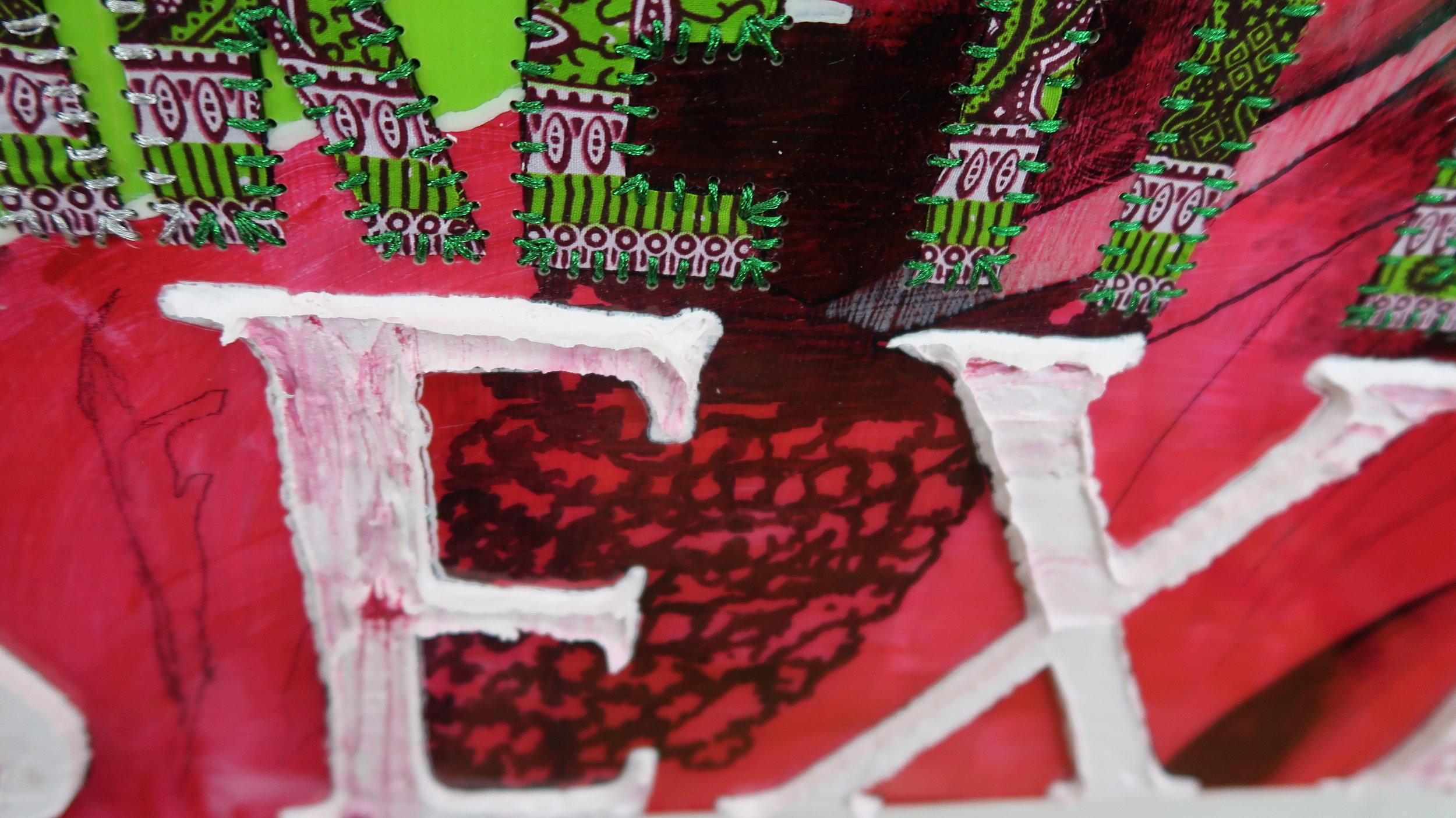 "Awkward Black Girl (Kendrick Lamar Hard on a Bitch) Oil paint, Ghanaian/Chinese HItarget wax fabric hand sewn into wood panel with epoxy resin 30""X24"" 2017"