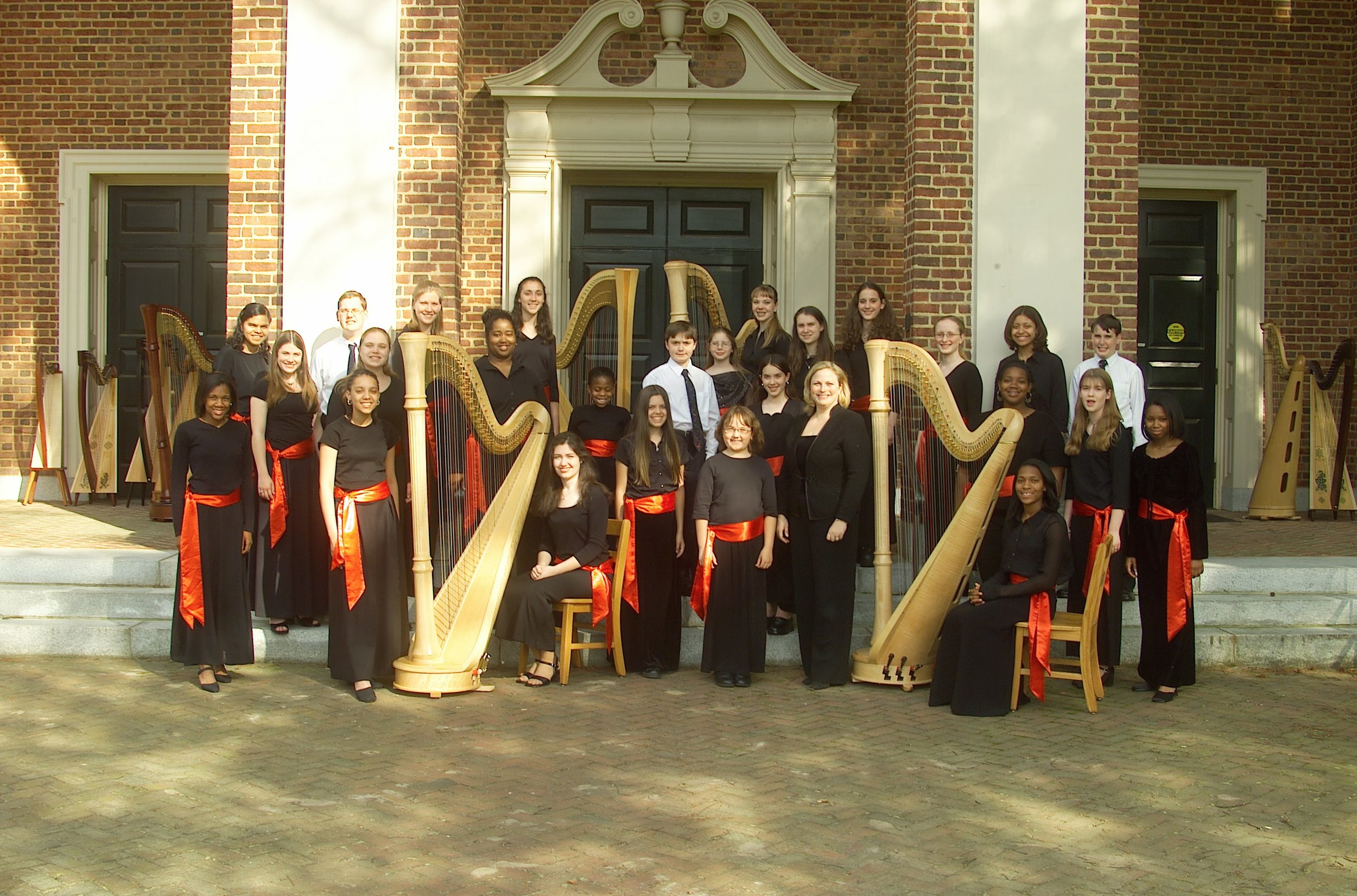 An early photo of the American Youth Harp Ensemble, 2000