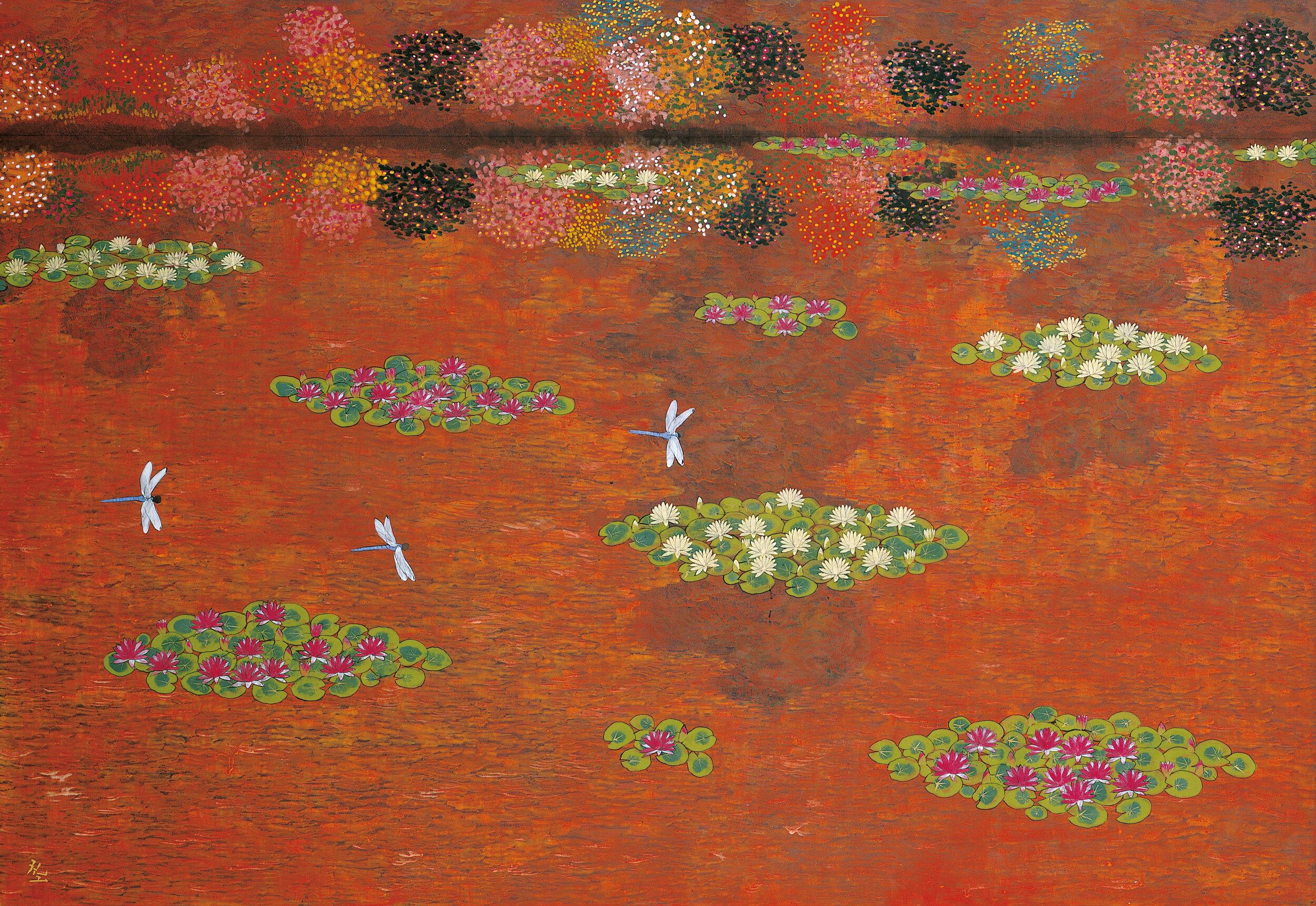 平松礼二《モネの池.夕映》2003