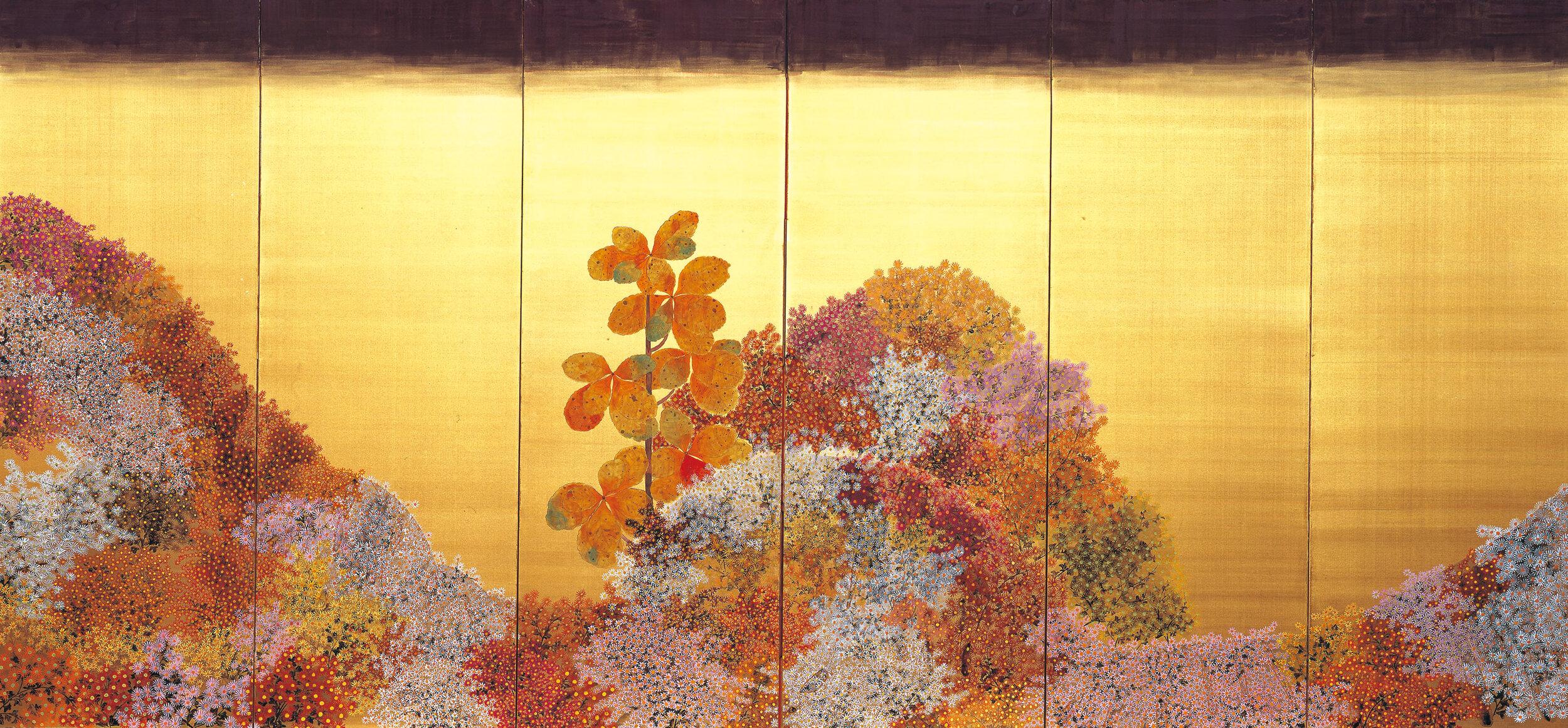 平松礼二《路・野菊讃》(左隻)1996