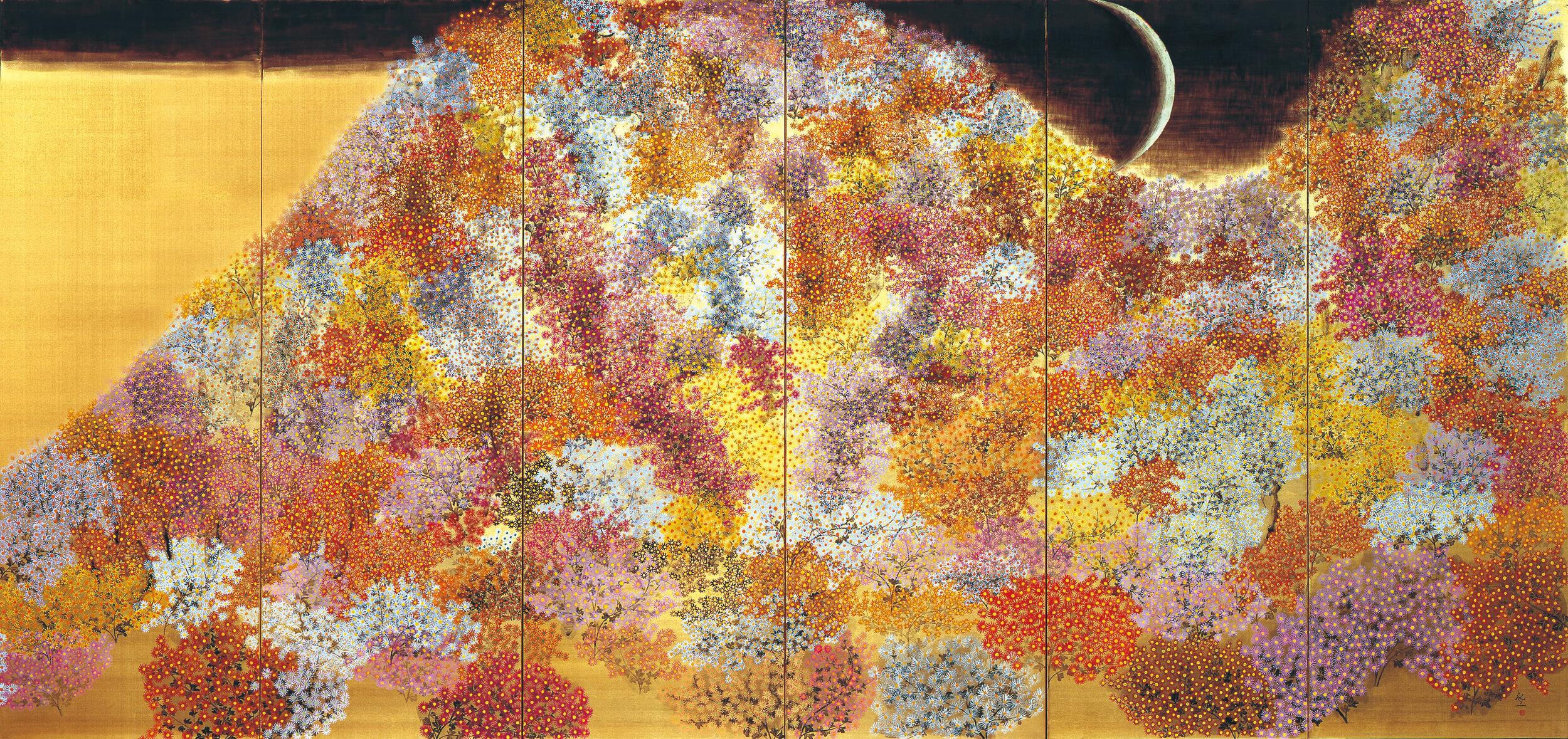平松礼二《路・野菊讃》(右隻)1996