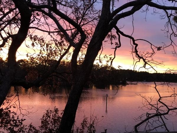 Sunset over Wolfsnare Creek in Northeast Virginia Beach