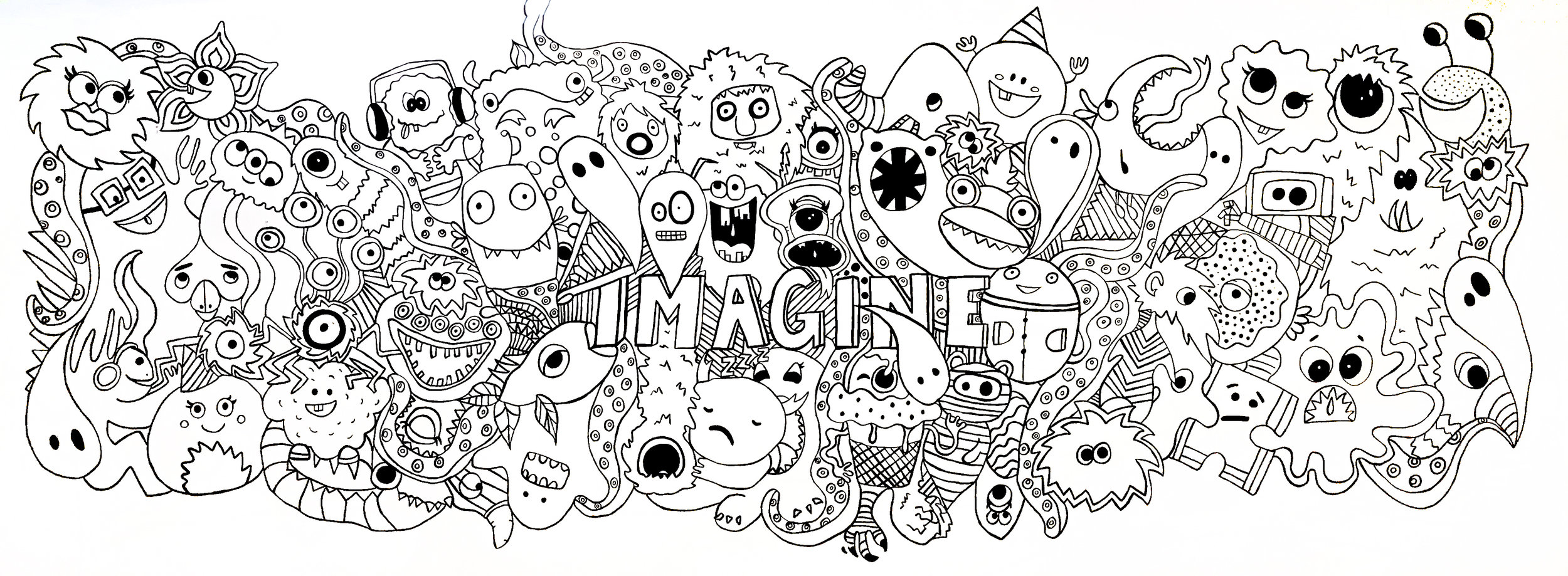 Imagine Mural linework completion before students filled in.