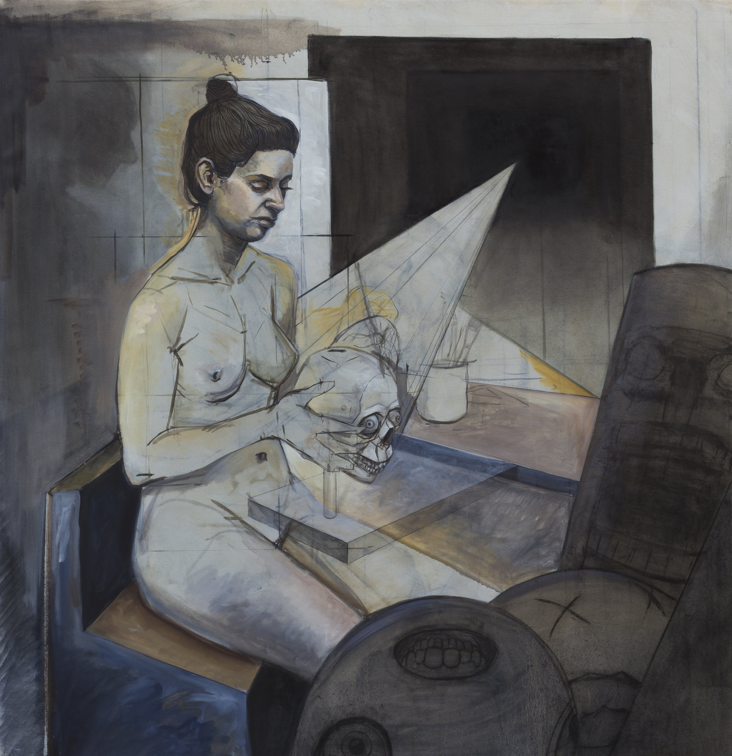 The Artist in the Studio , 2018, oil and charcoal on canvas, 56 x 54in