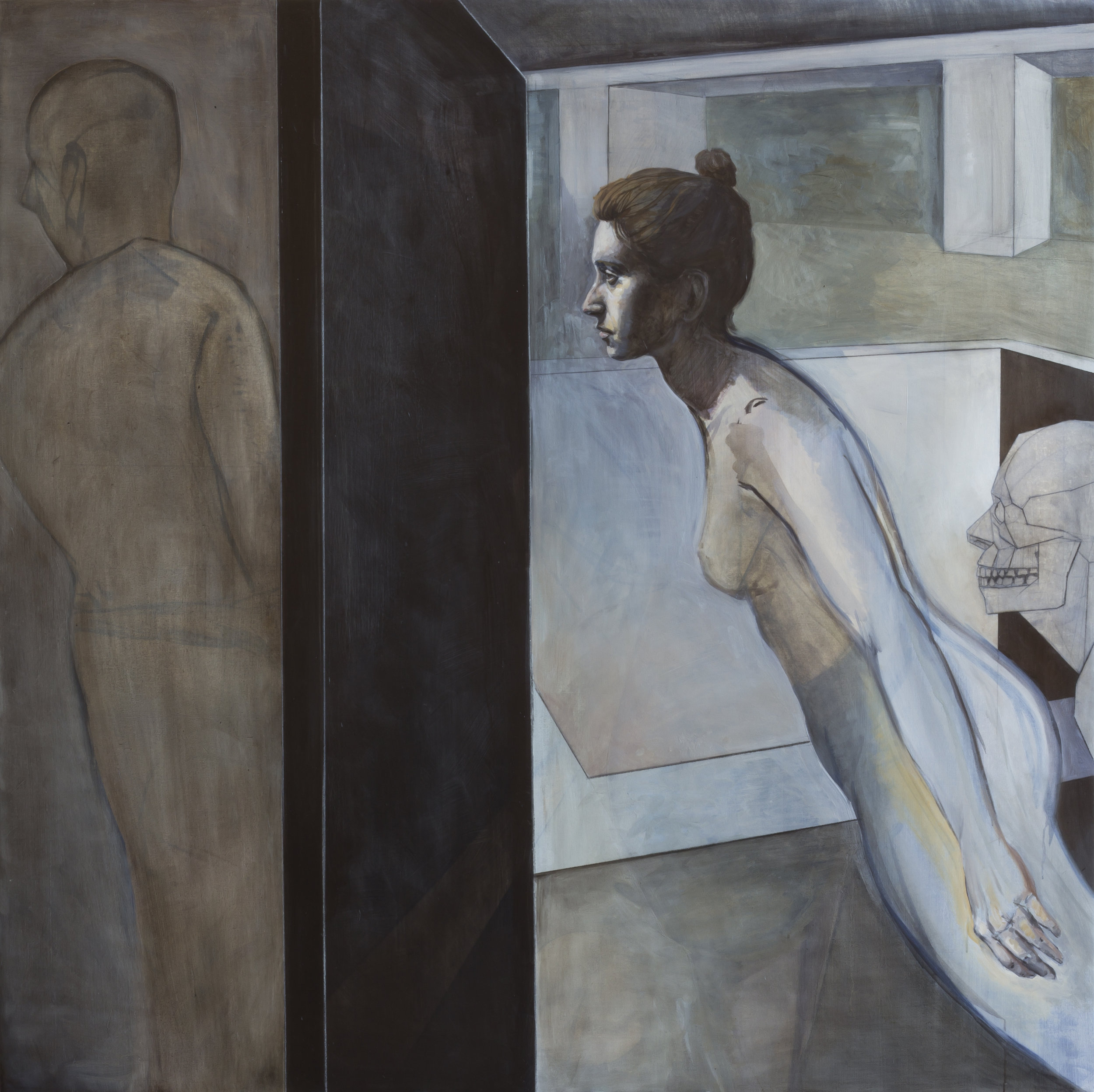The Door II , 2018, oil and charcoal on canvas, 54 x 54in