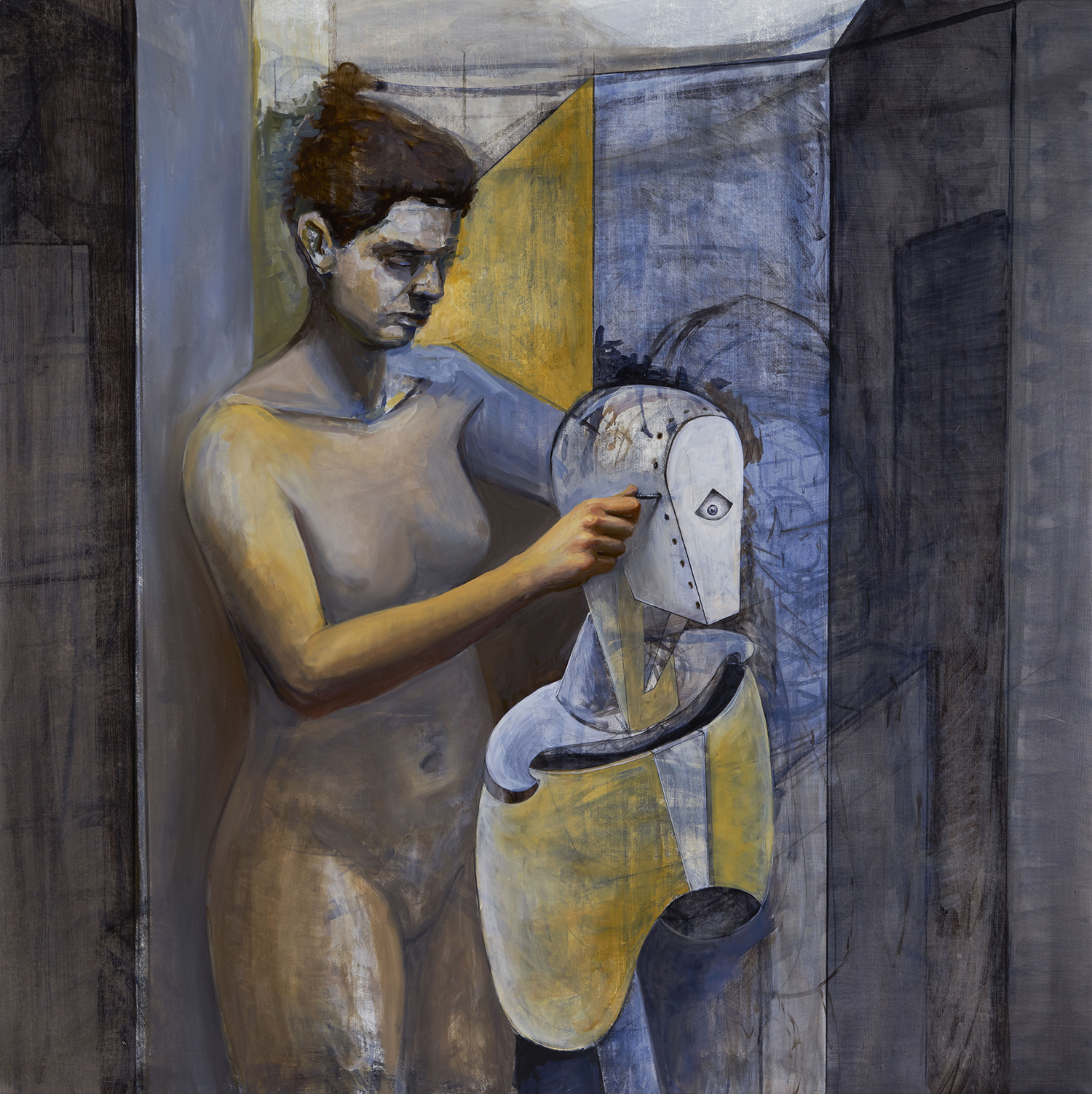 The Artist in the Studio II , 2018–19, oil & pencil on canvas, 52 x 52 in