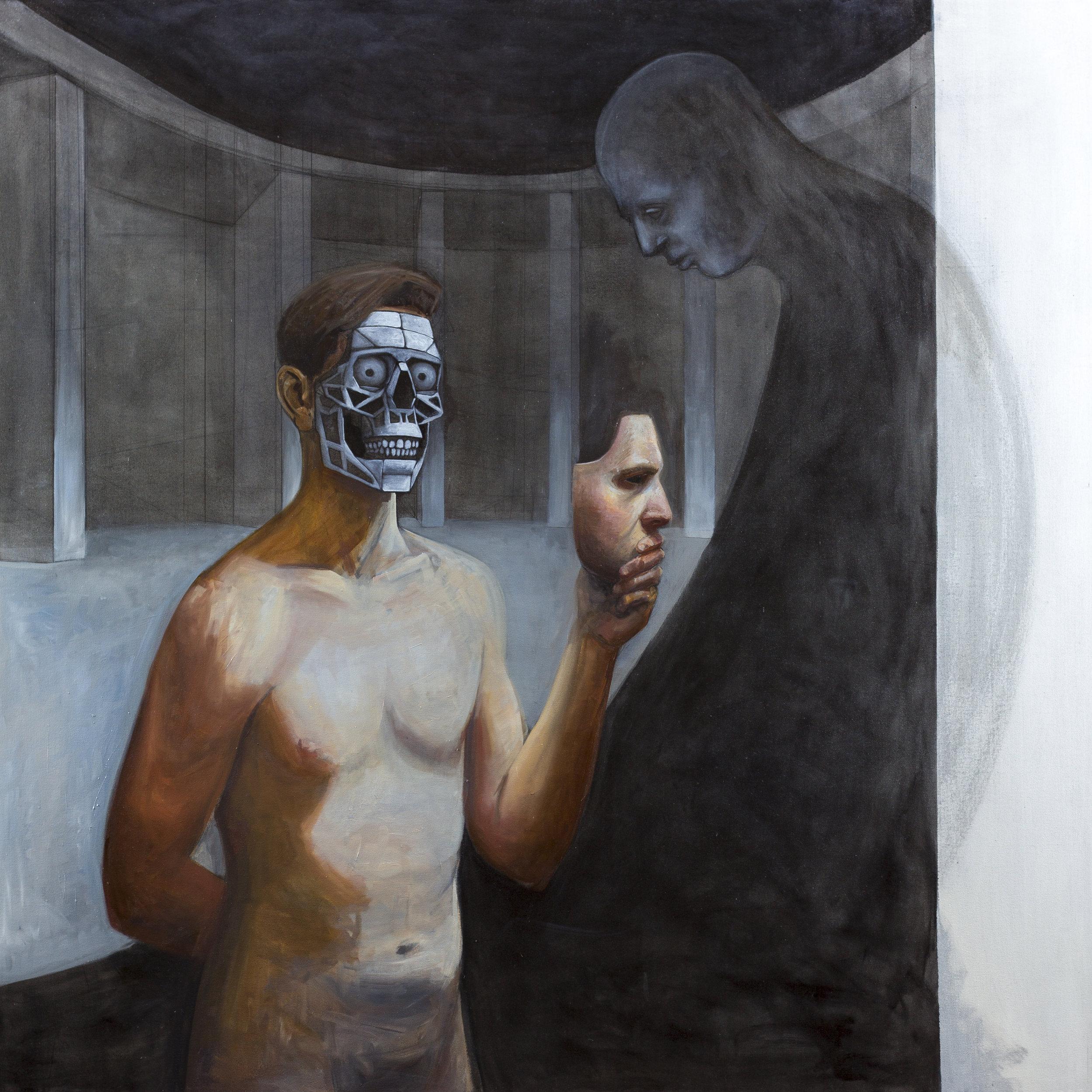 Gatekeeper III , 2019, charcoal & oil on canvas, 56 x 56 in