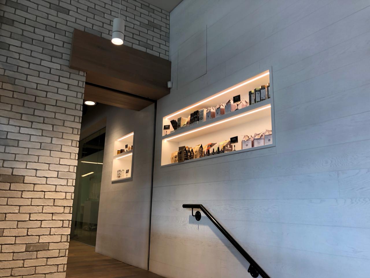 Product Display Shelving Lights Entrance