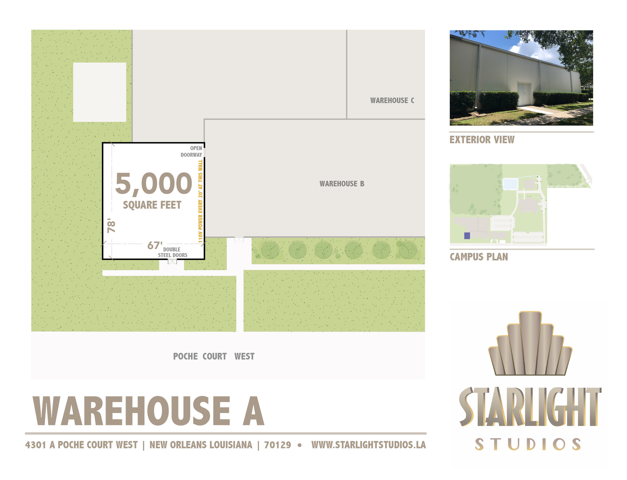 Warehouse A - 5,000 square ft110 volt outletsStreet access