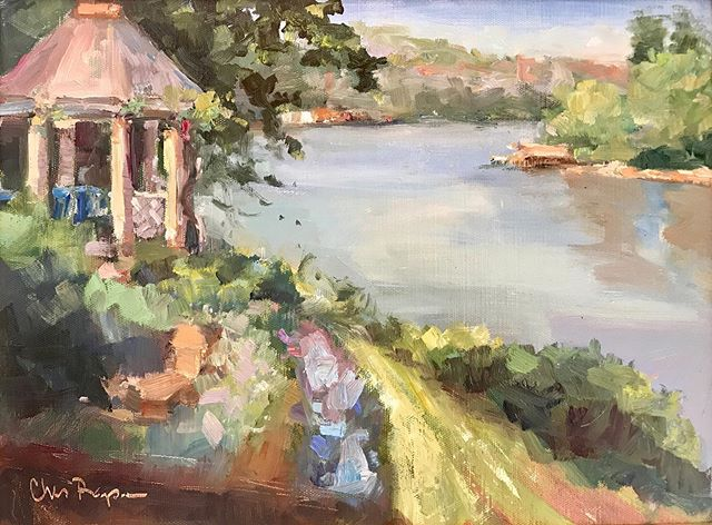 Sold! Maybe my favorite painting of the week—painted this from the patio of one of our sponsors. Absolutely beautiful view of the Tennessee river late in the afternoon. So thankful for all the hard work of @artistsonlocation and for GREAT weather this week! The sale continues today from 1:00-3:00 at the Knoxville Museum of Art. . . . . . #pleinair #landscapepainting #allaprima #marylandartist #outdoorpainter #painteveryday #paintwhatyousee #paintwhatyoulove #artforsale #pleinairartist #chrisrapa #landscape #oilpainting #oilonlinen #originalart #enpleinair #impressionist #impressionistart #enpleinair #dogwoodfestival #knoxrox #knoxvilleart #knoxvillemuseumofart #utgardens #womanpainters #instaart