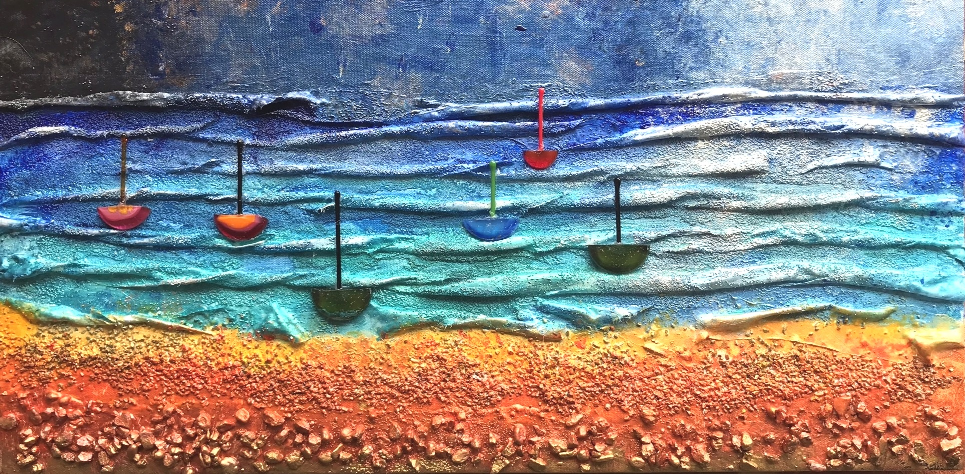 Night-time Beach and Boats 2018 Sold