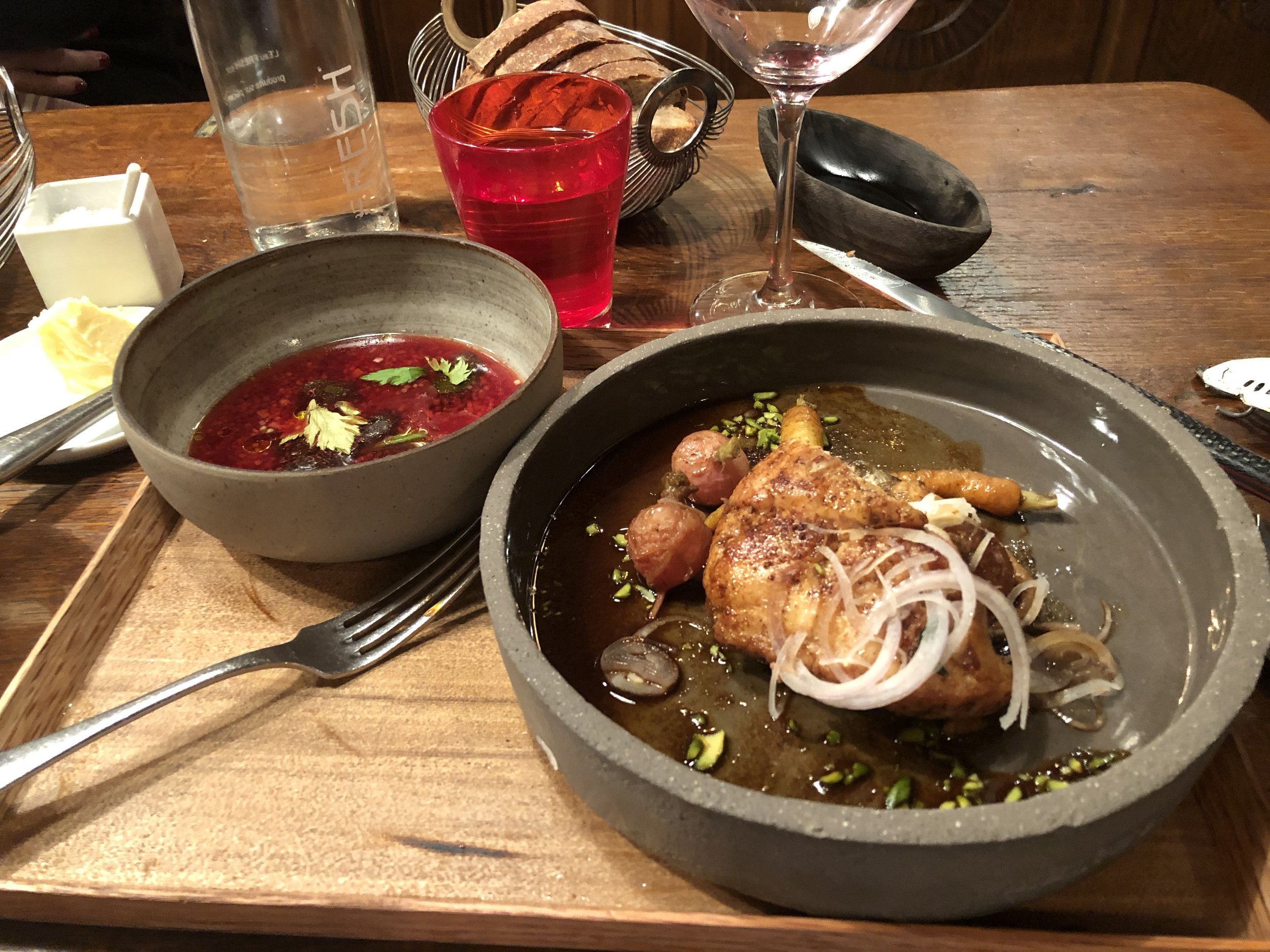 Sauteed Sweetbreads, Beet Consomme