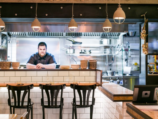 Chef Lucas Baur de Campos on the Pass at Brutos in Paris. Photo Courtesy of Brutos