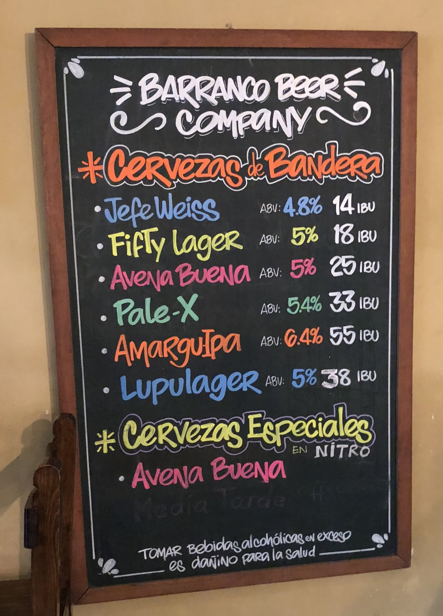 Craft Beer Menu at Barranco Beer Co.