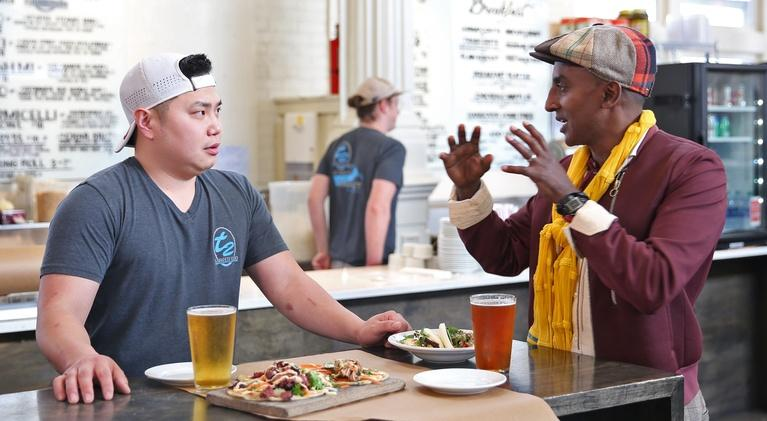 Chefs Marcus Samuelsson and Tung Nguyen on the New Orleans Episode of No Passport Required. Photo via pbs.org