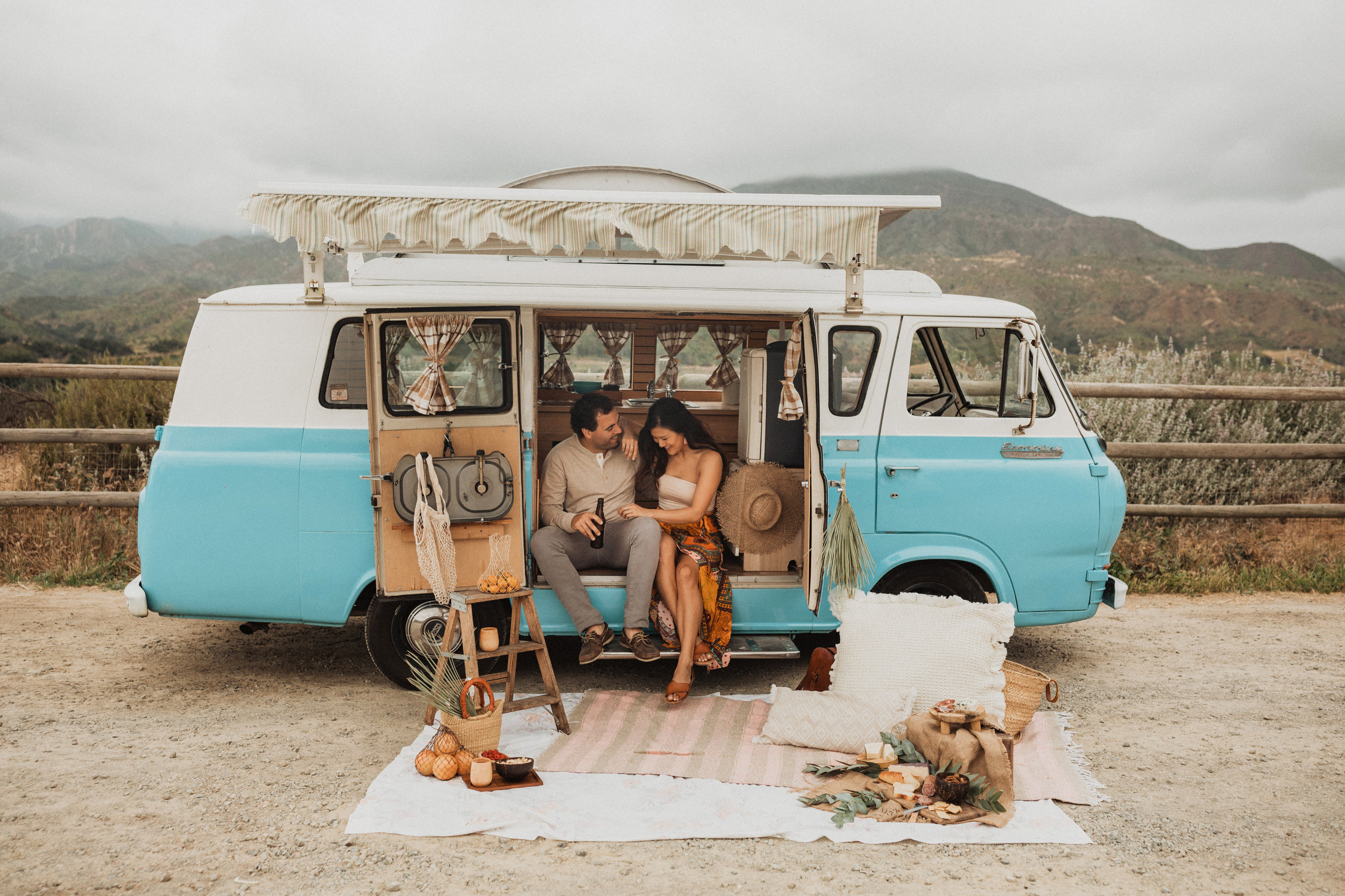 Camper Van engagement shoot in ojai