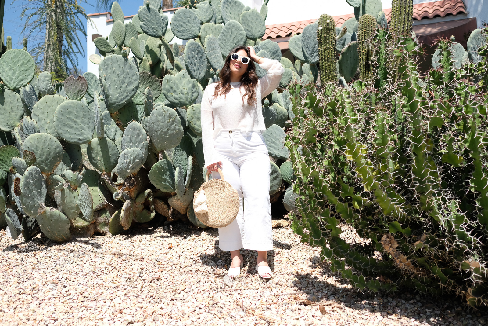 White Denim Culotte Summer Look with sweater and mules.jpg