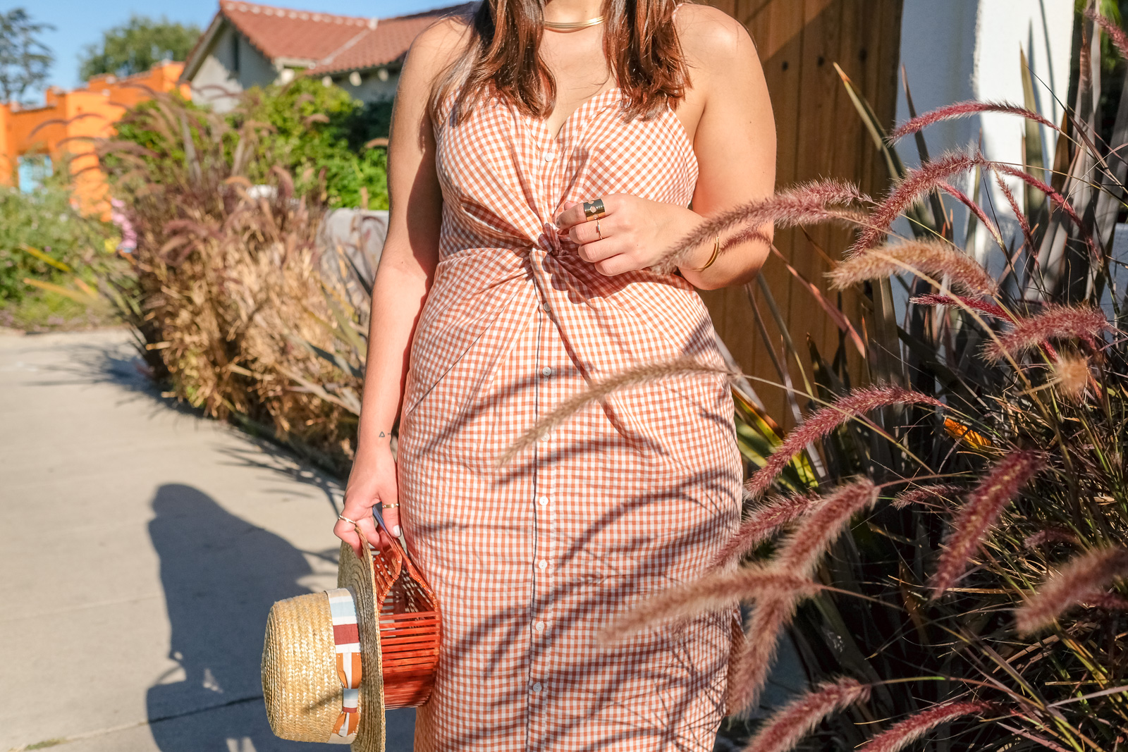 Gingham dress and gold accessories