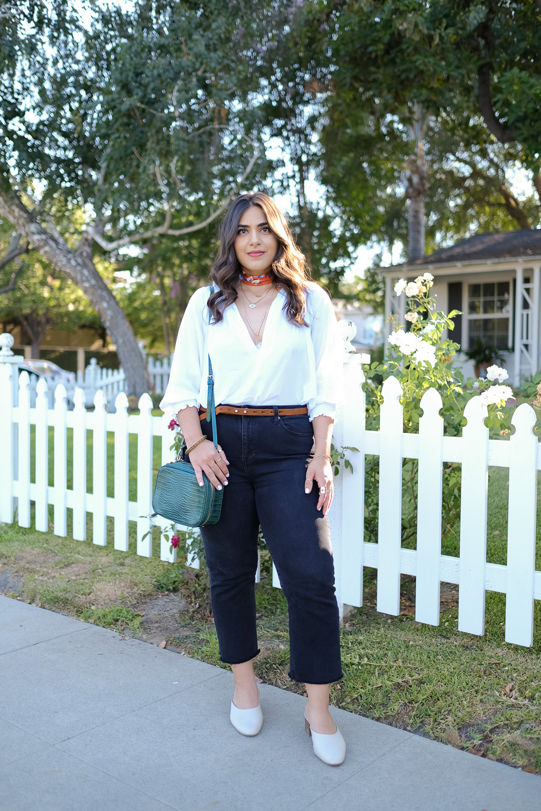 White blouse Summer transitional look