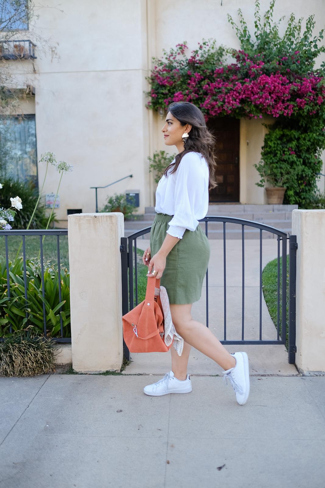 White blouse linen skirt summer look