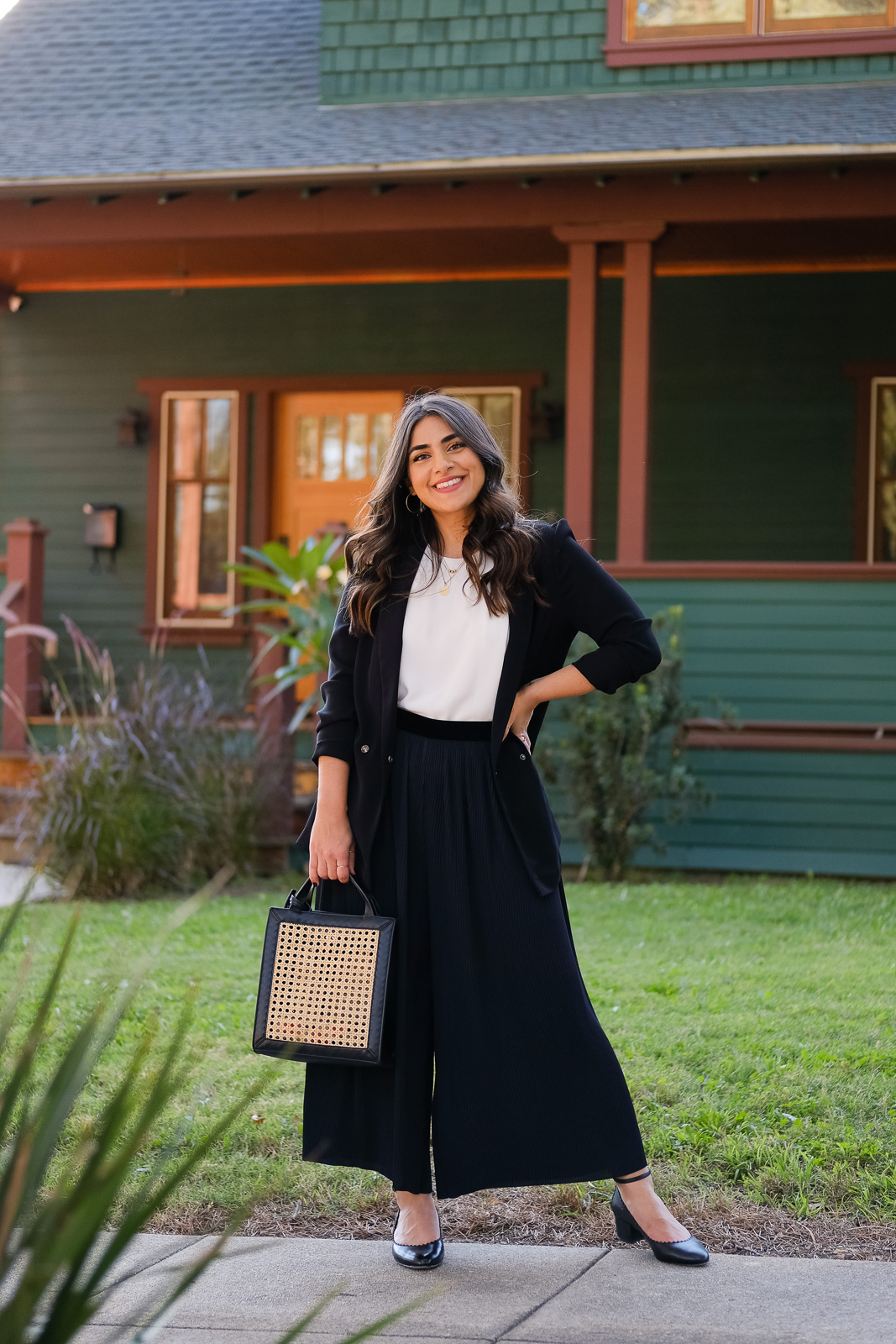 pleated culottes and black blazer
