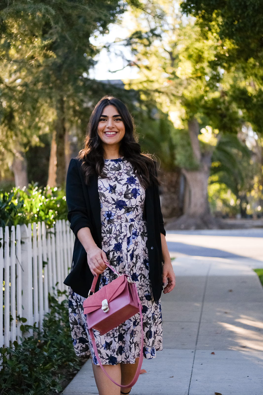 Floral dress and black blazer job interview
