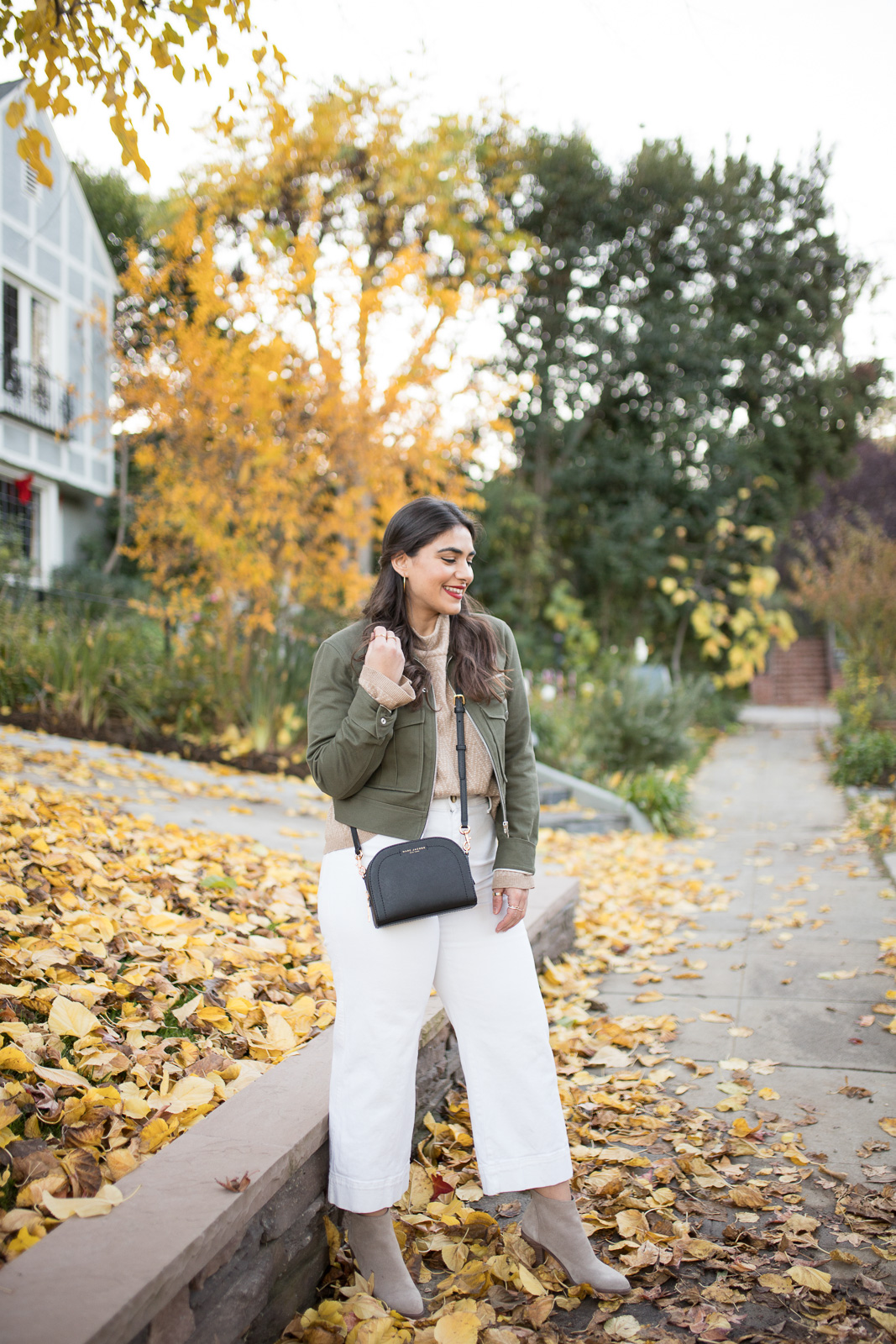 Winter in Los Angeles with layered madewell sweater and rage and bone jacket