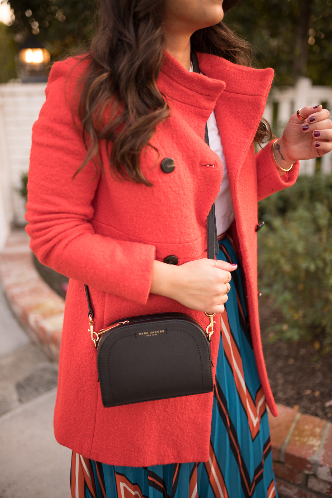 Red Coat Marc jacobs crossbody bag Pleated skirt