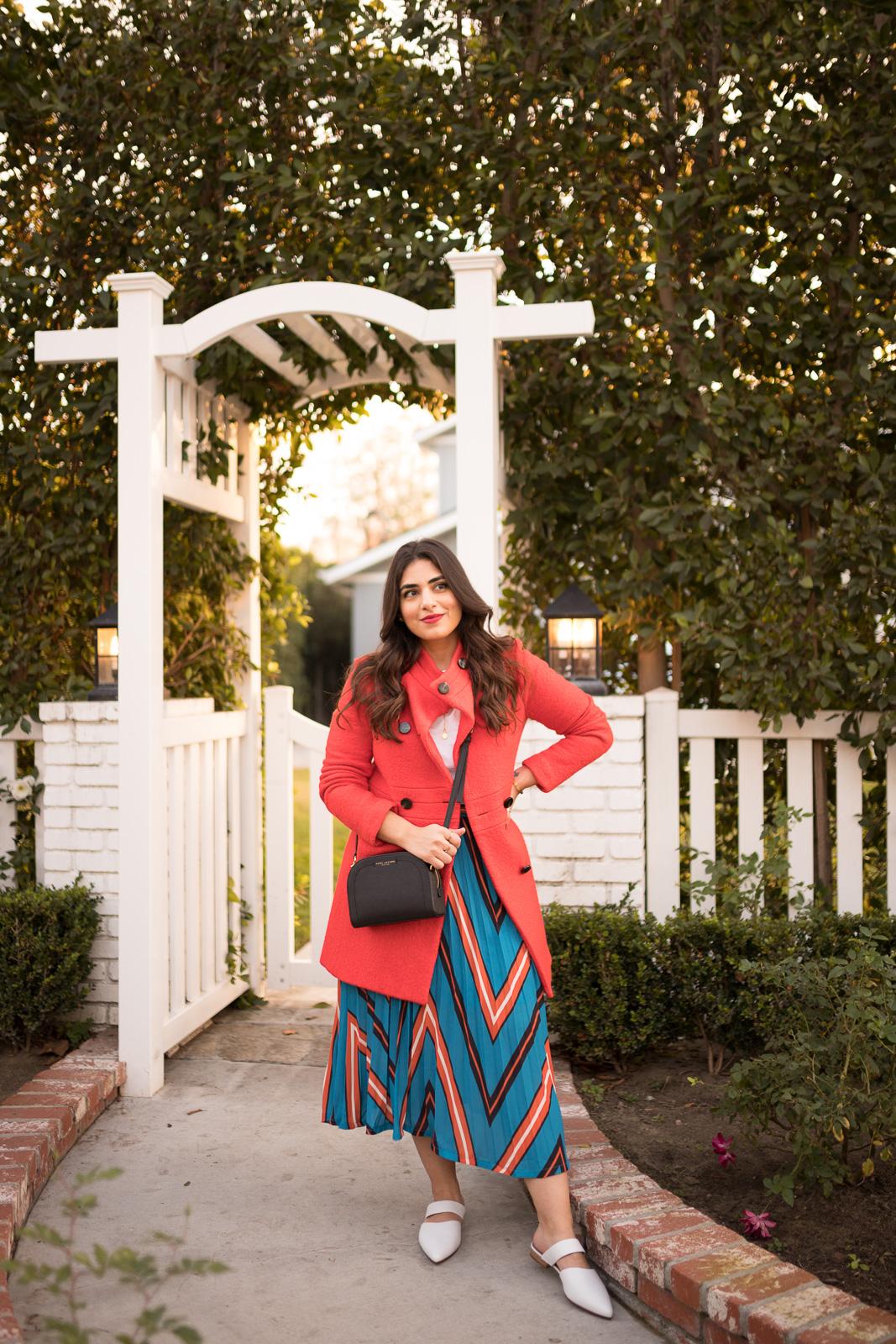 Chevron print midi skirt nordstrom rack with Red coat and White slides Nordstrom