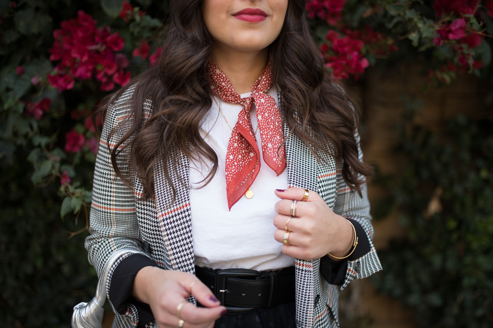 atlantic pacific x halogen plaid blazer & layered scarf and jewelry