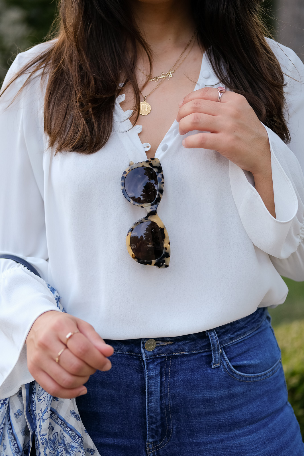 white blouse martha calvo necklace and armenian nameplate necklace