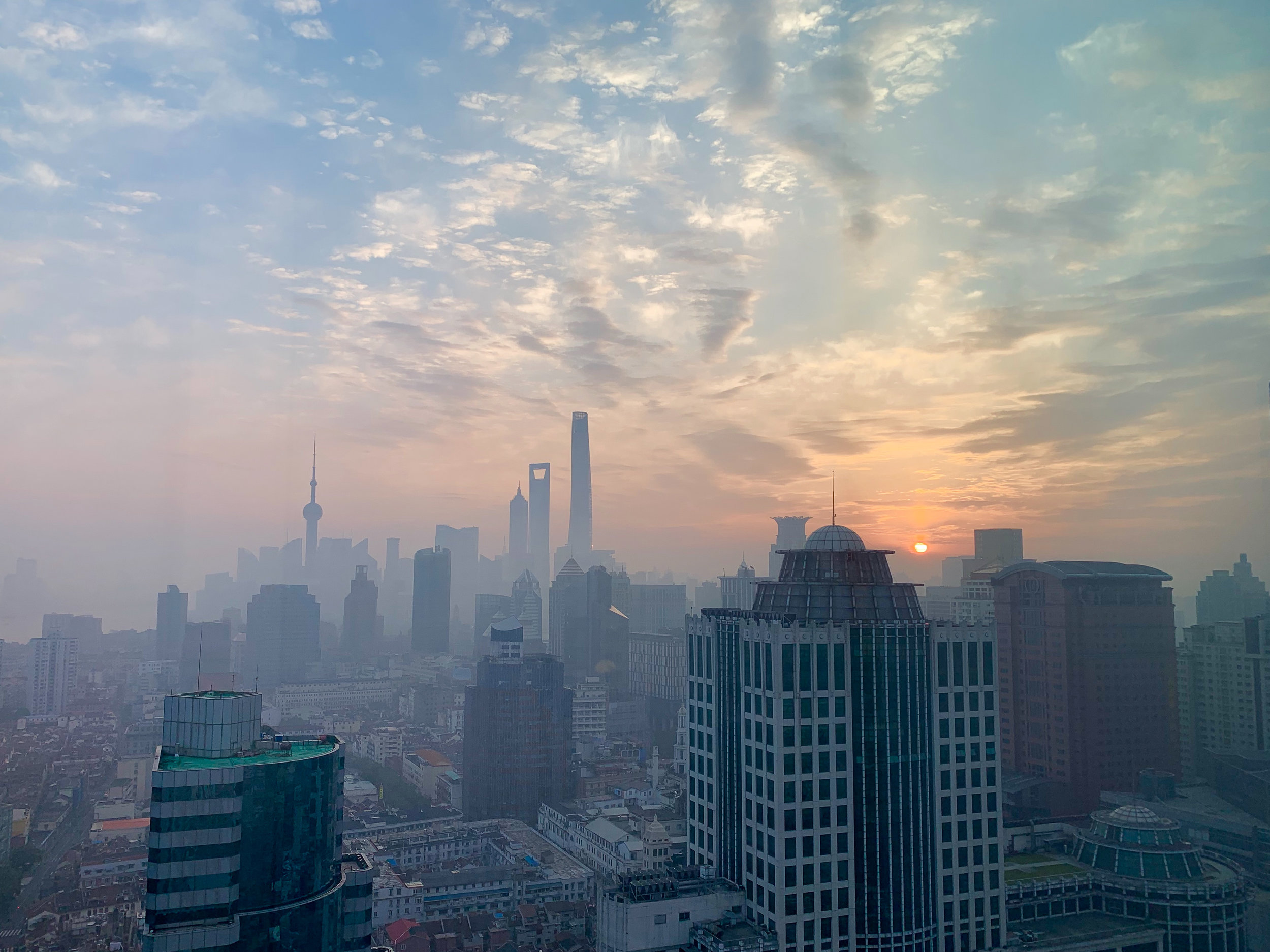 Morning sunrise highlighting partial smoggy conditions in Shanghai