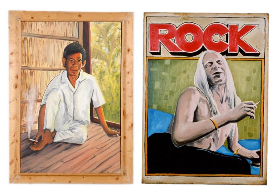 """Left: Kevin Sullivan,""""Smoker,"""" 1997, oil on canvas, 28""""x20"""" (framed) . Right: Kevin Sullivan, """"Rock,"""" 1993, oil on canvas, 48""""x36"""""""