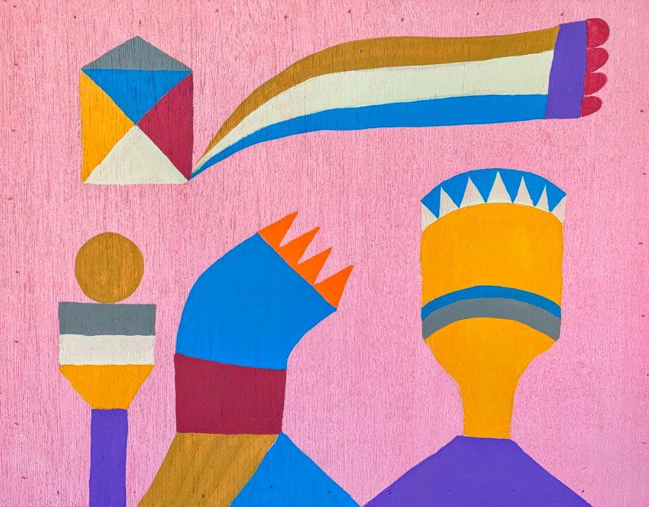 """Trophies, 2019 acrylic on wood 19.5 x 15"""""""