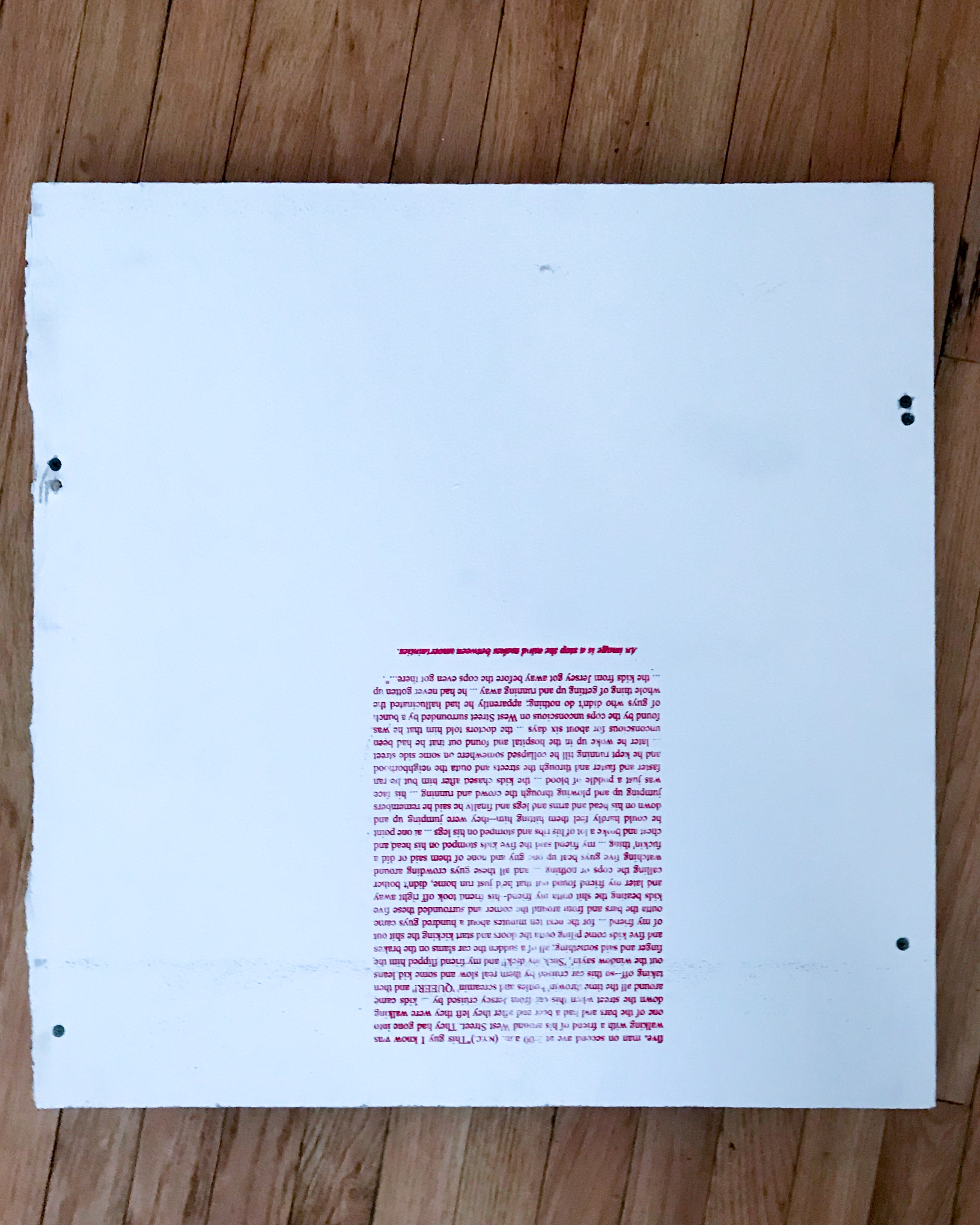 Evan Fusco,  language proposition III (reinvestment in certain important quotations), 2018 , screenprint on wall panel, an excerpt from David Wojnarowicz's  Close to the Knives (A Memoir of Disintegration)  from p. 70-71, a quote from Djuna Barnes book  Nightwood  found on p. 14 of Gregg Bordowitz's book on General Idea's  Imagevirus