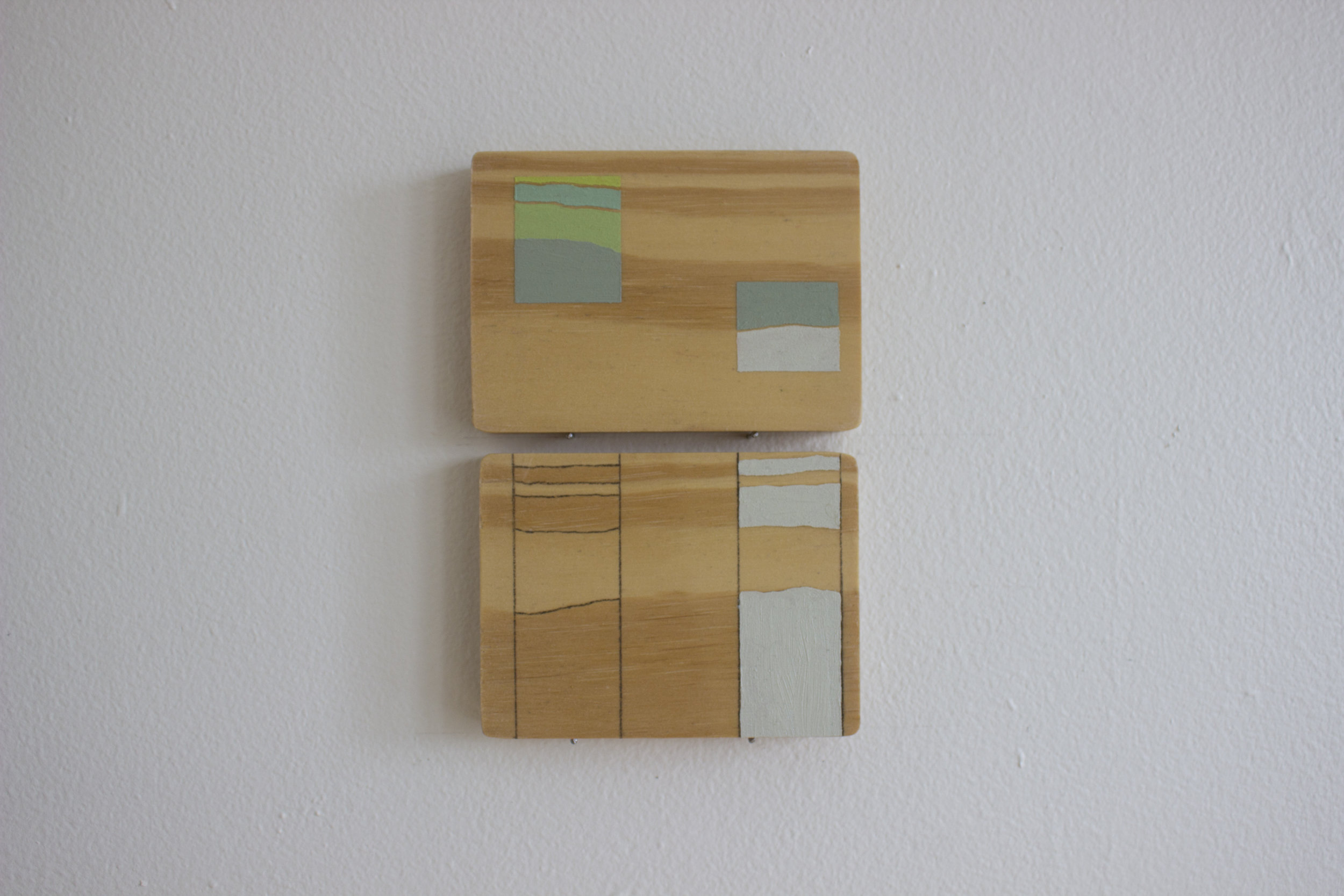 Tracie Hayes,  Grain-paint Translation II,  2018, Oil and graphite on wood